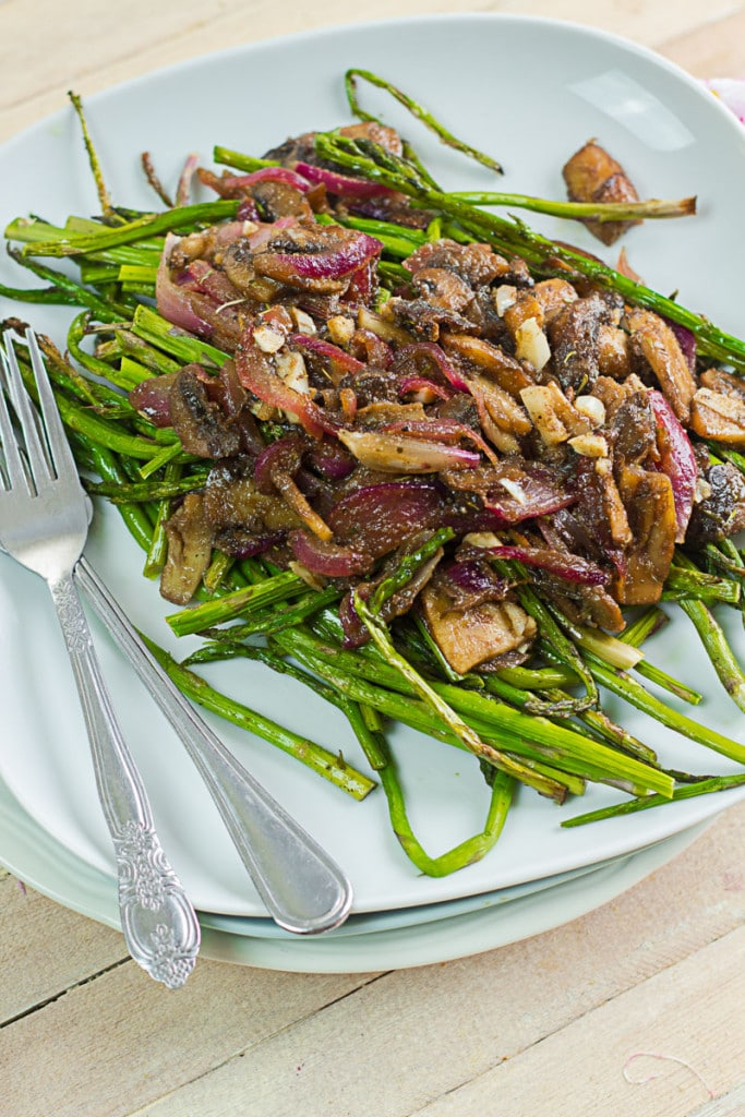 Roasted Asparagus with Caramelzied Red Onions & Mushrooms