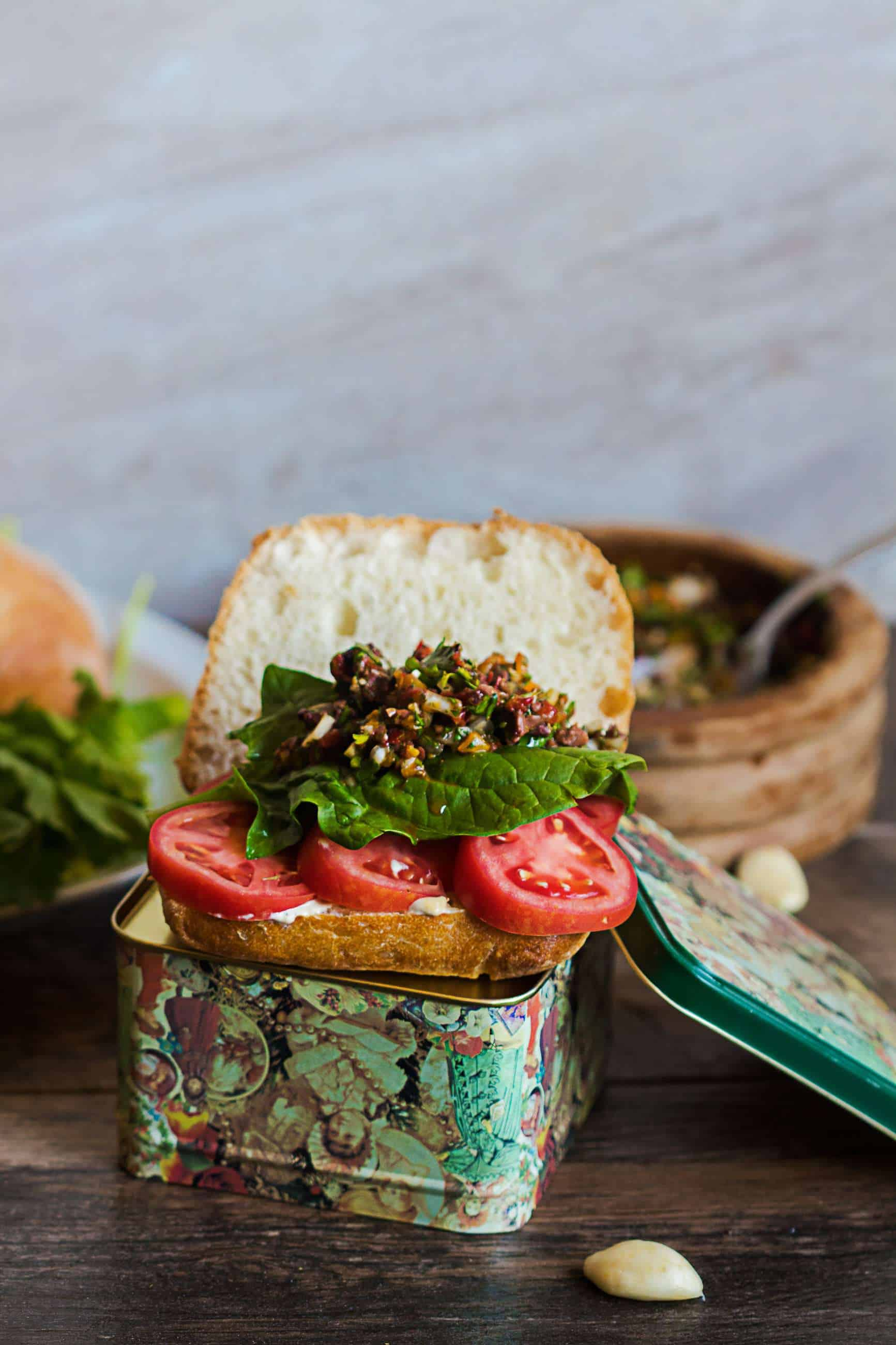 Tomato Sandwich with Red Pepper Olive Relish