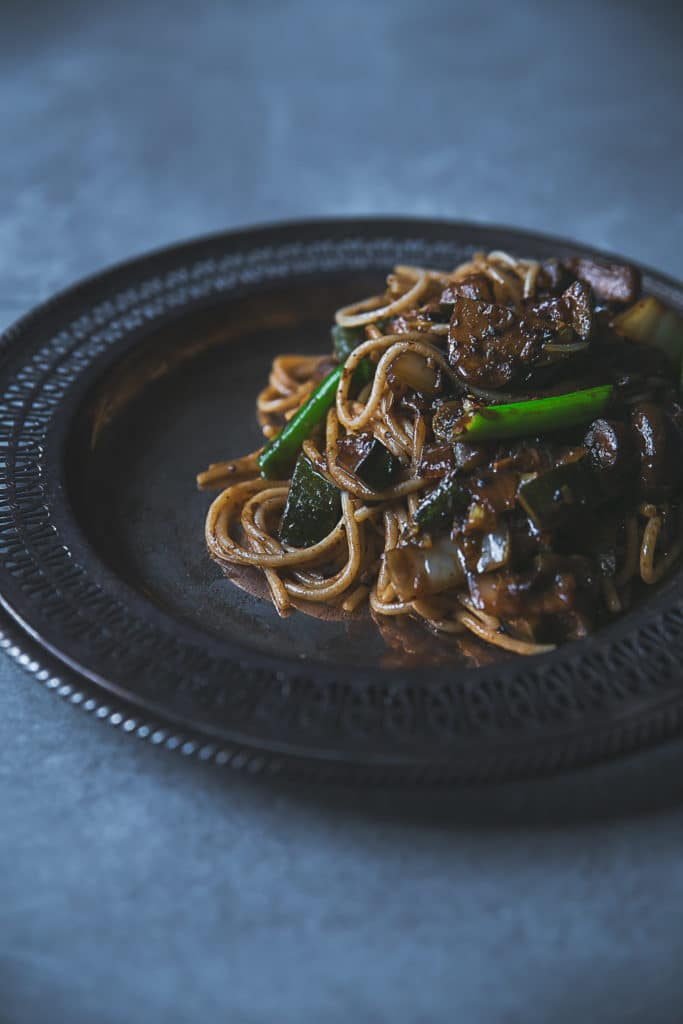 Rice Noodles with Black Bean Sauce, Mushrooms, & Zucchini